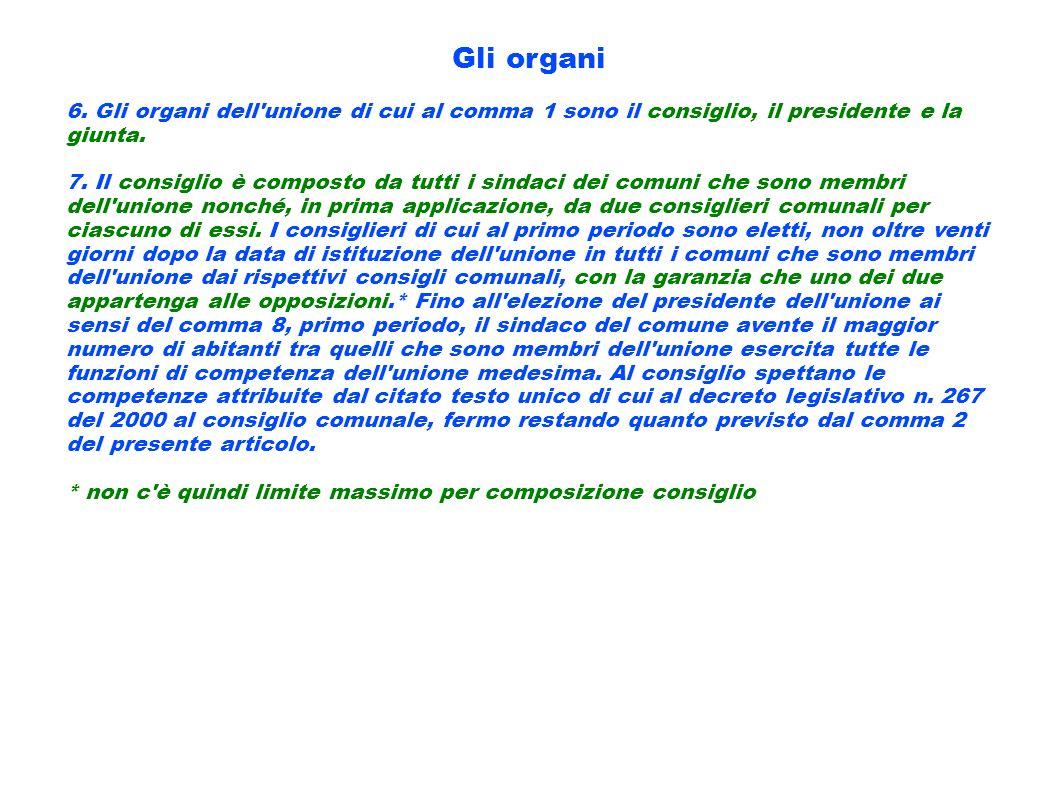 Gli organi 6. Gli organi dell unione di cui al comma 1 sono il consiglio, il presidente e la giunta.