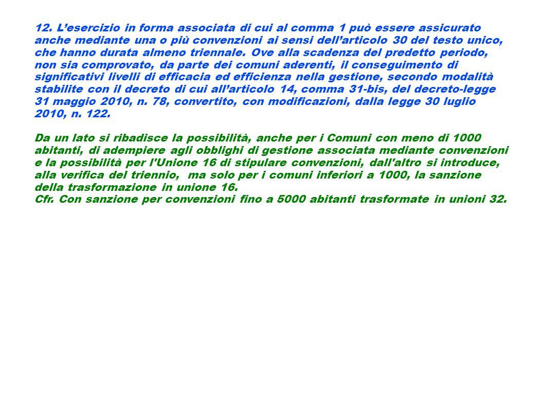12. L'esercizio in forma associata di cui al comma 1 può essere assicurato anche mediante una o più convenzioni ai sensi dell'articolo 30 del testo unico, che hanno durata almeno triennale. Ove alla scadenza del predetto periodo, non sia comprovato, da parte dei comuni aderenti, il conseguimento di significativi livelli di efficacia ed efficienza nella gestione, secondo modalità stabilite con il decreto di cui all'articolo 14, comma 31-bis, del decreto-legge 31 maggio 2010, n. 78, convertito, con modificazioni, dalla legge 30 luglio 2010, n. 122.