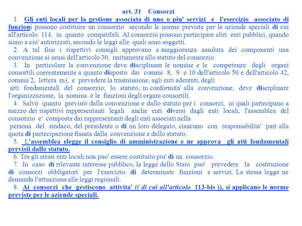 art. 31 Consorzi