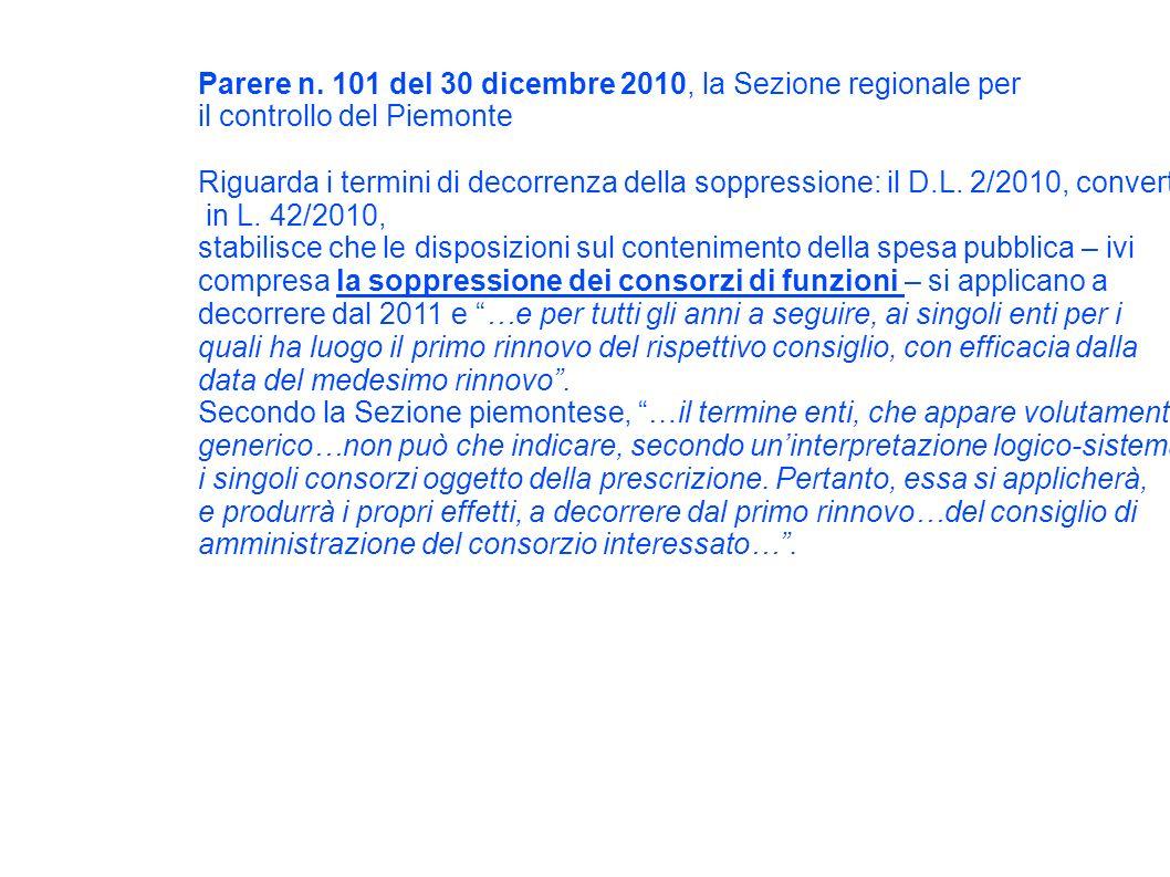 Parere n. 101 del 30 dicembre 2010, la Sezione regionale per