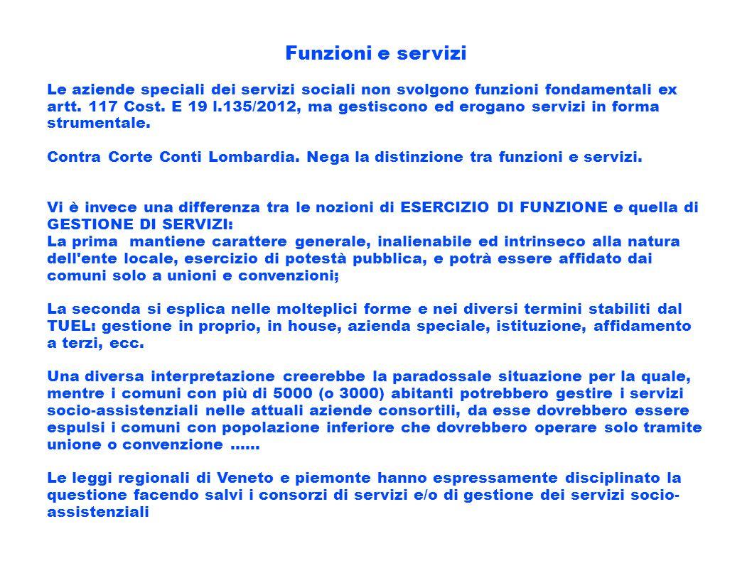 Funzioni e servizi