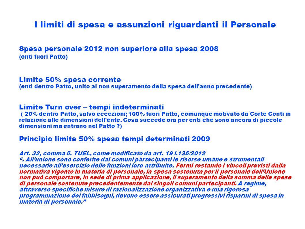 I limiti di spesa e assunzioni riguardanti il Personale