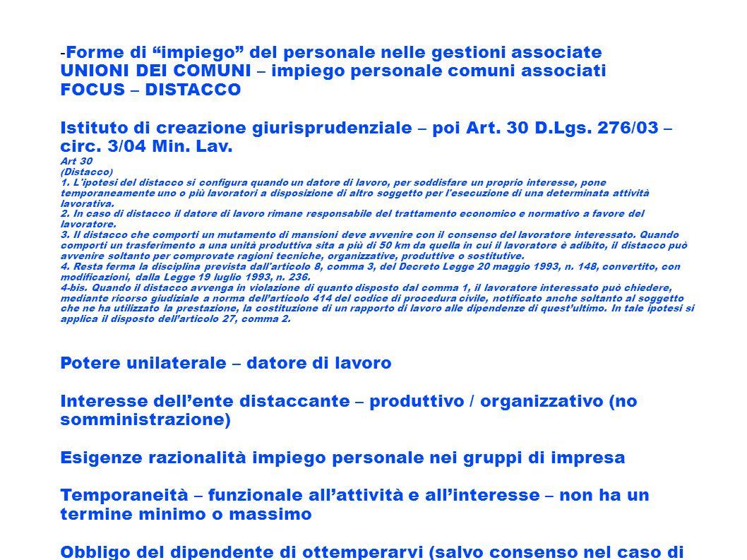 -Forme di impiego del personale nelle gestioni associate
