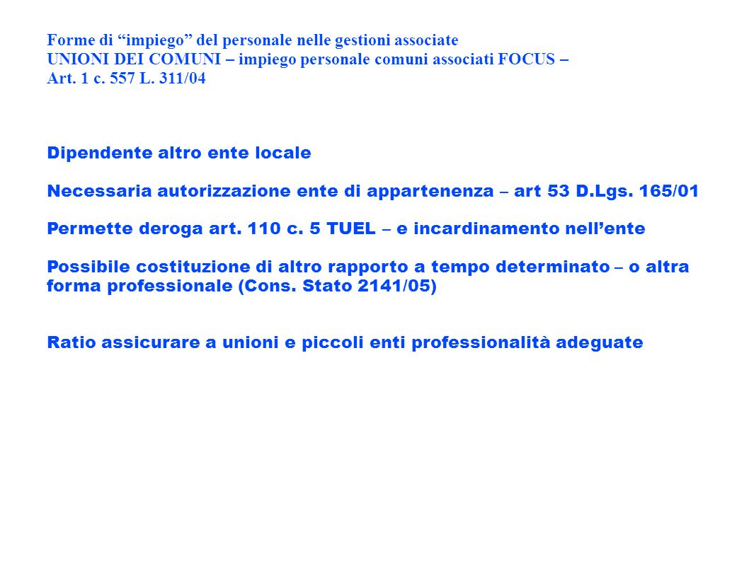 Forme di impiego del personale nelle gestioni associate