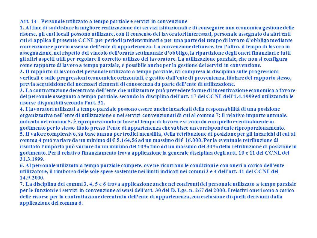 Art. 14 - Personale utilizzato a tempo parziale e servizi in convenzione