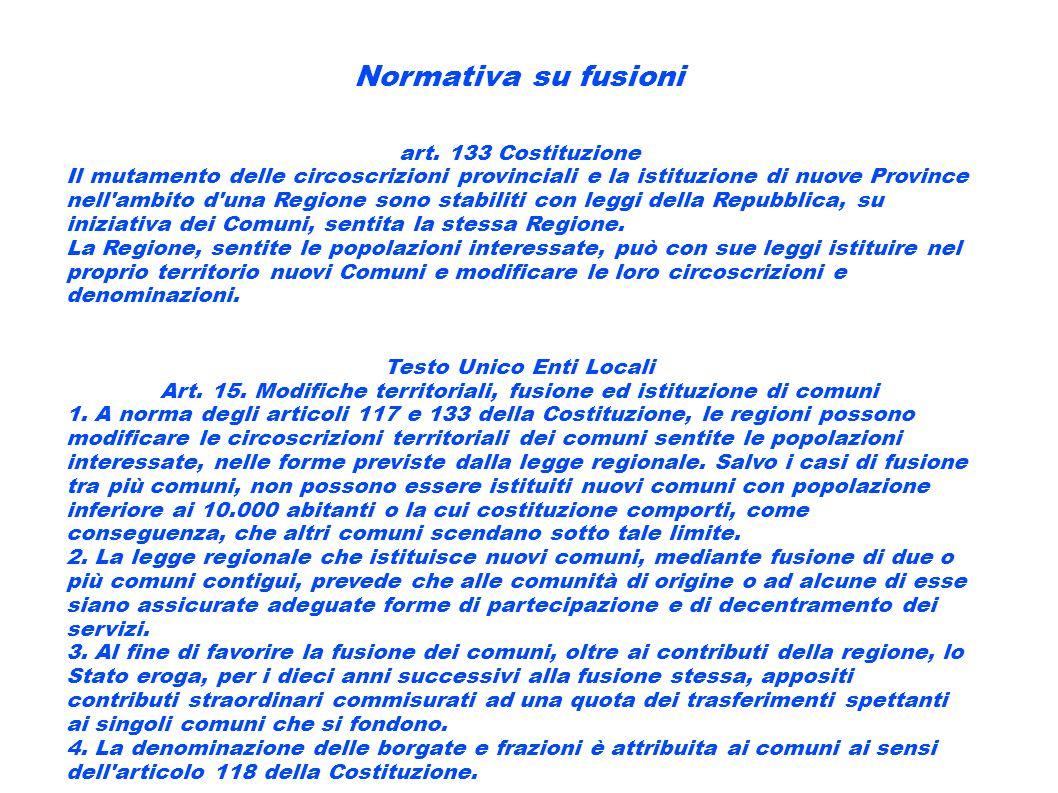 Normativa su fusioni art. 133 Costituzione