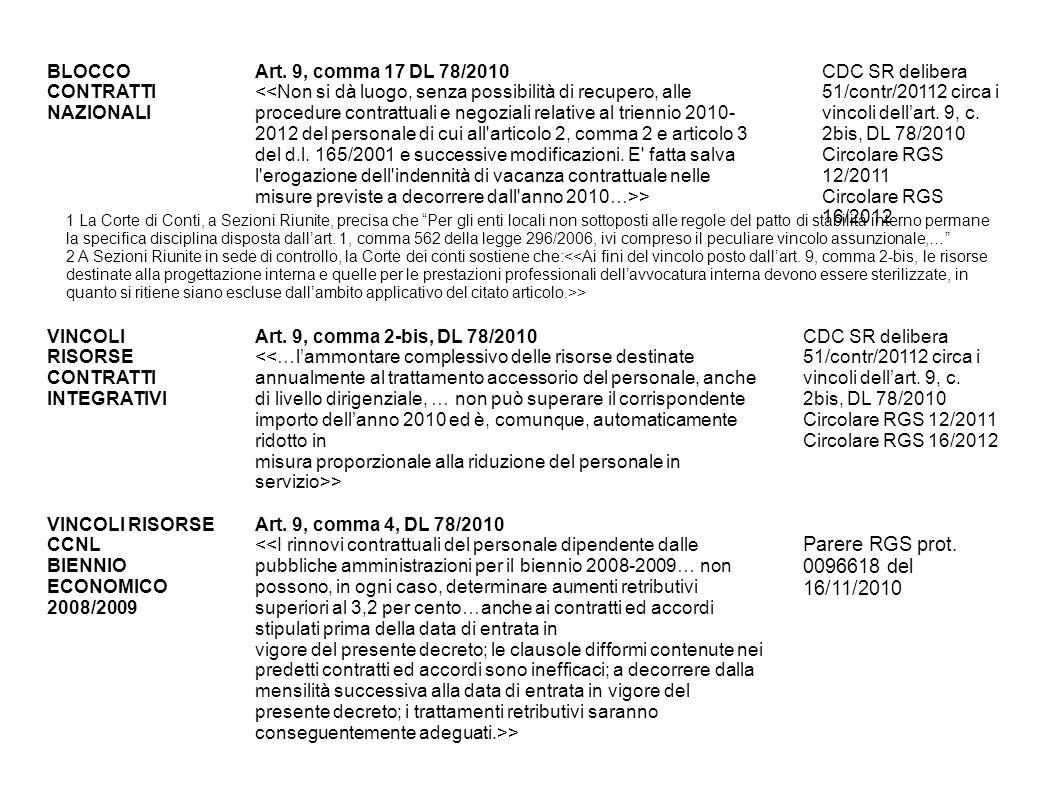 Parere RGS prot. 0096618 del 16/11/2010 BLOCCO CONTRATTI NAZIONALI