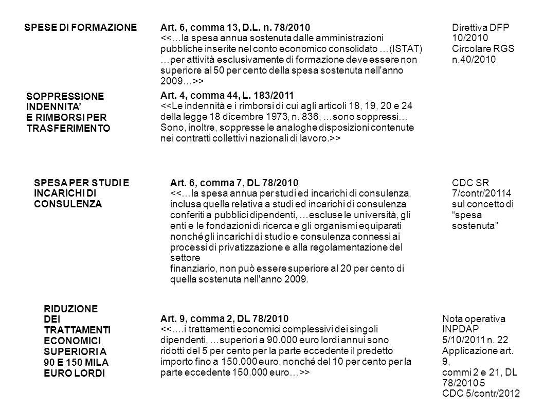 SPESE DI FORMAZIONE Art. 6, comma 13, D.L. n. 78/2010.
