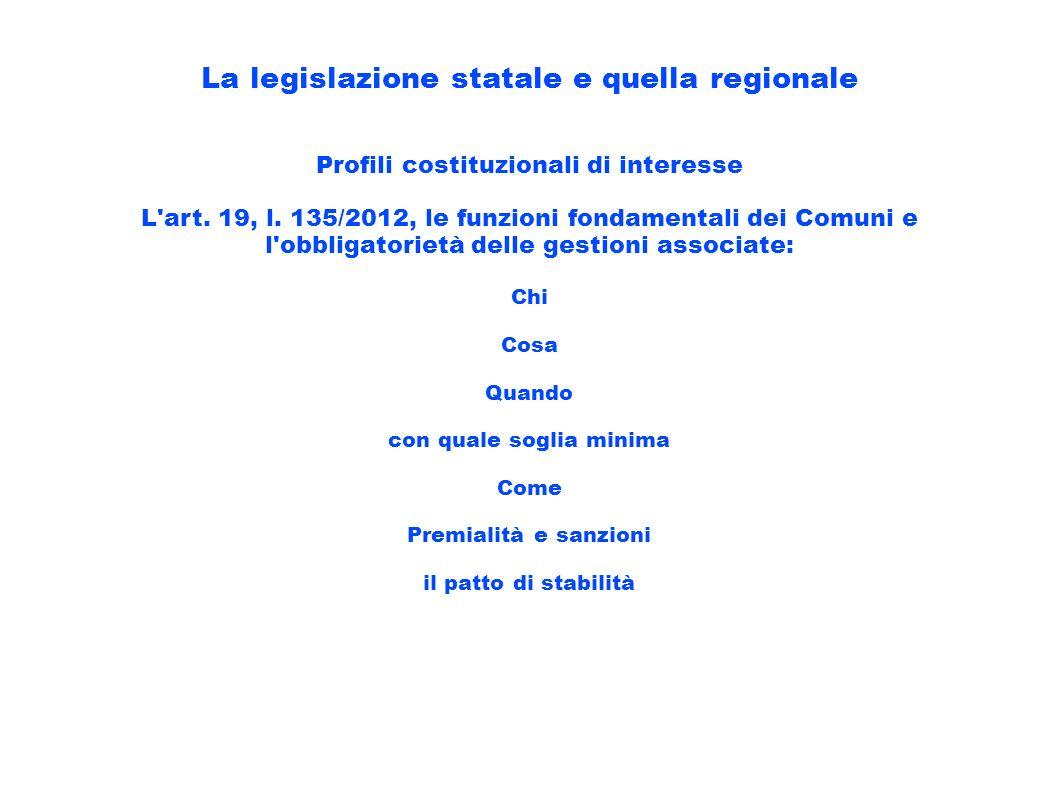 La legislazione statale e quella regionale