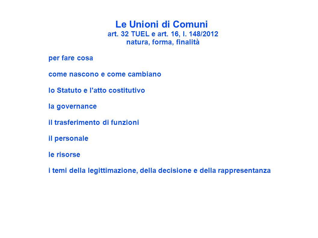 Le Unioni di Comuni art. 32 TUEL e art. 16, l. 148/2012