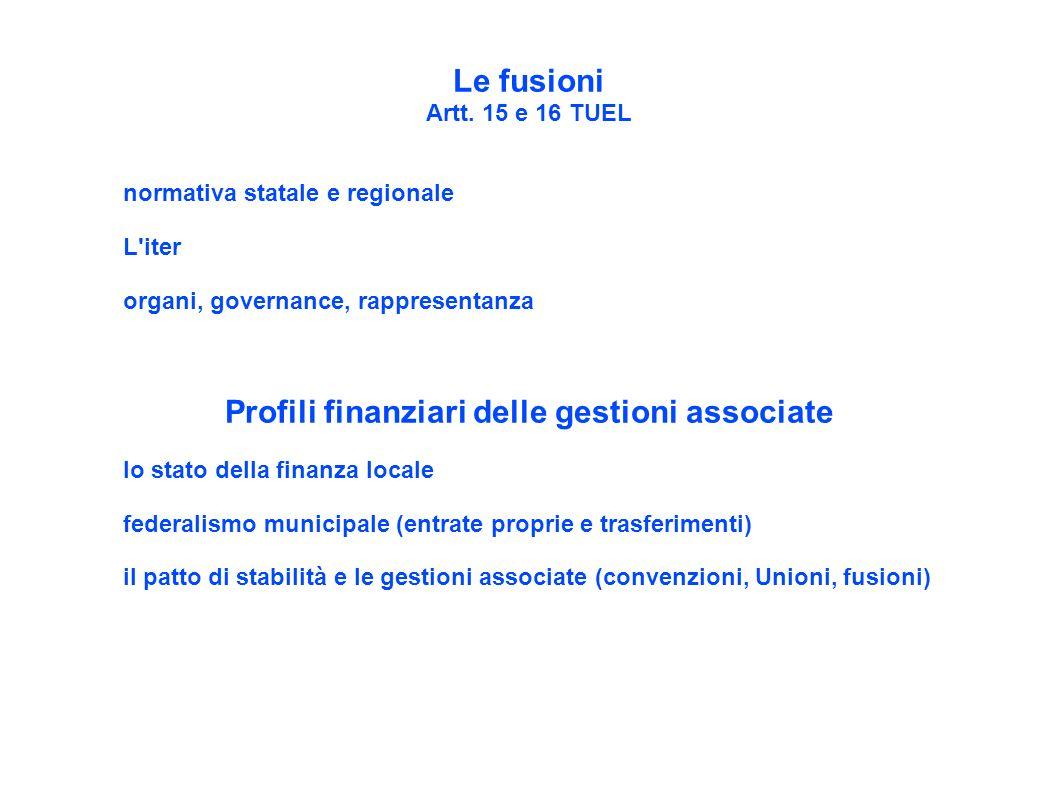 Profili finanziari delle gestioni associate