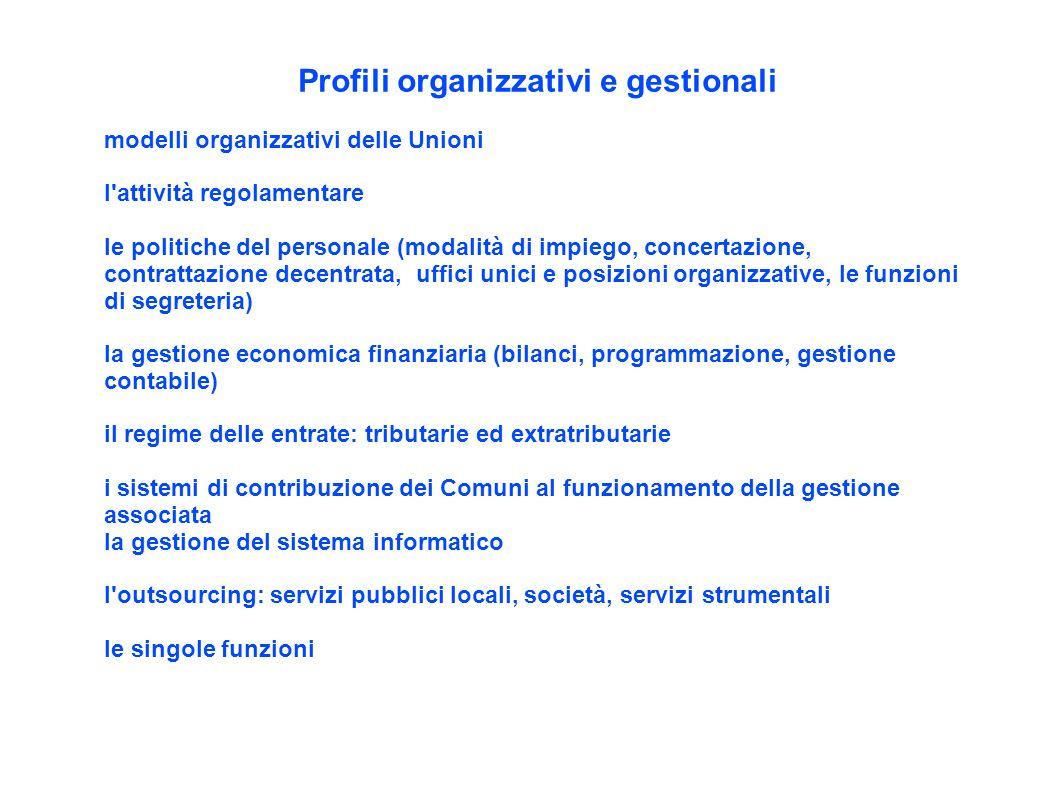 Profili organizzativi e gestionali