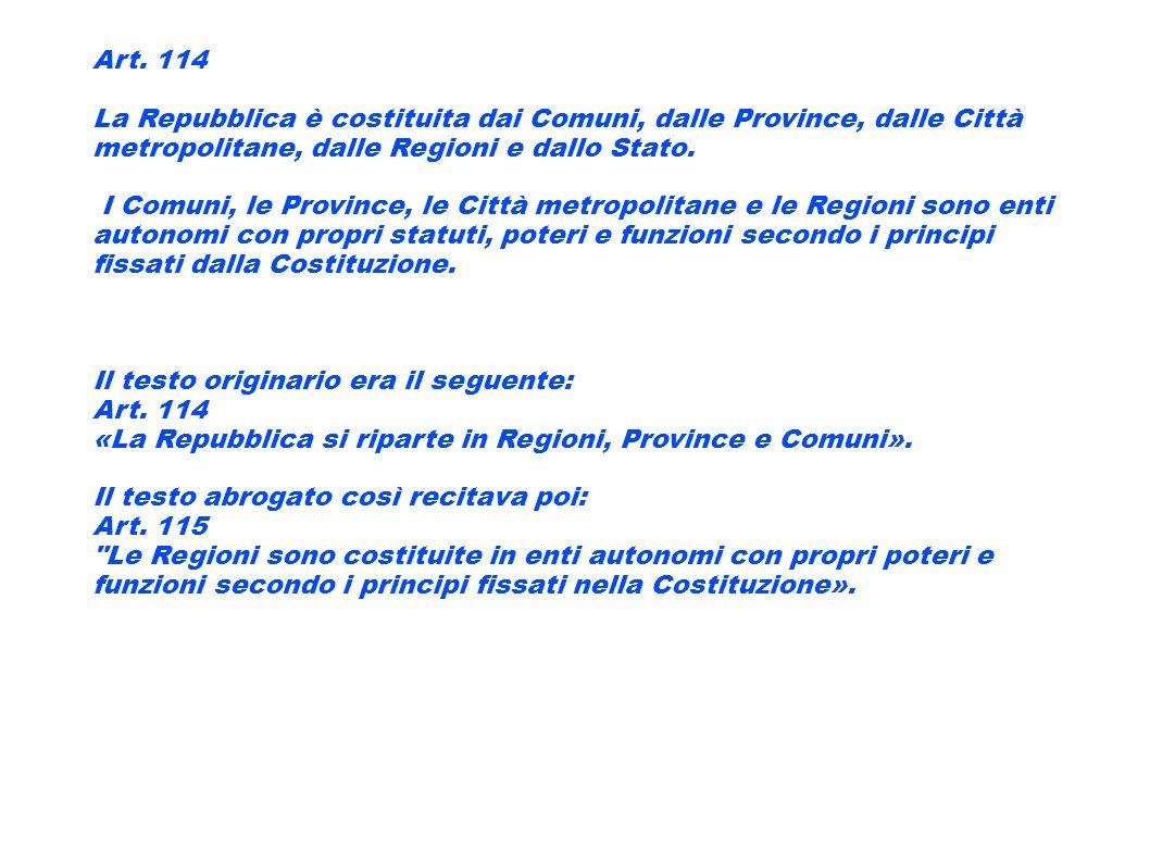 Art. 114 La Repubblica è costituita dai Comuni, dalle Province, dalle Città metropolitane, dalle Regioni e dallo Stato.