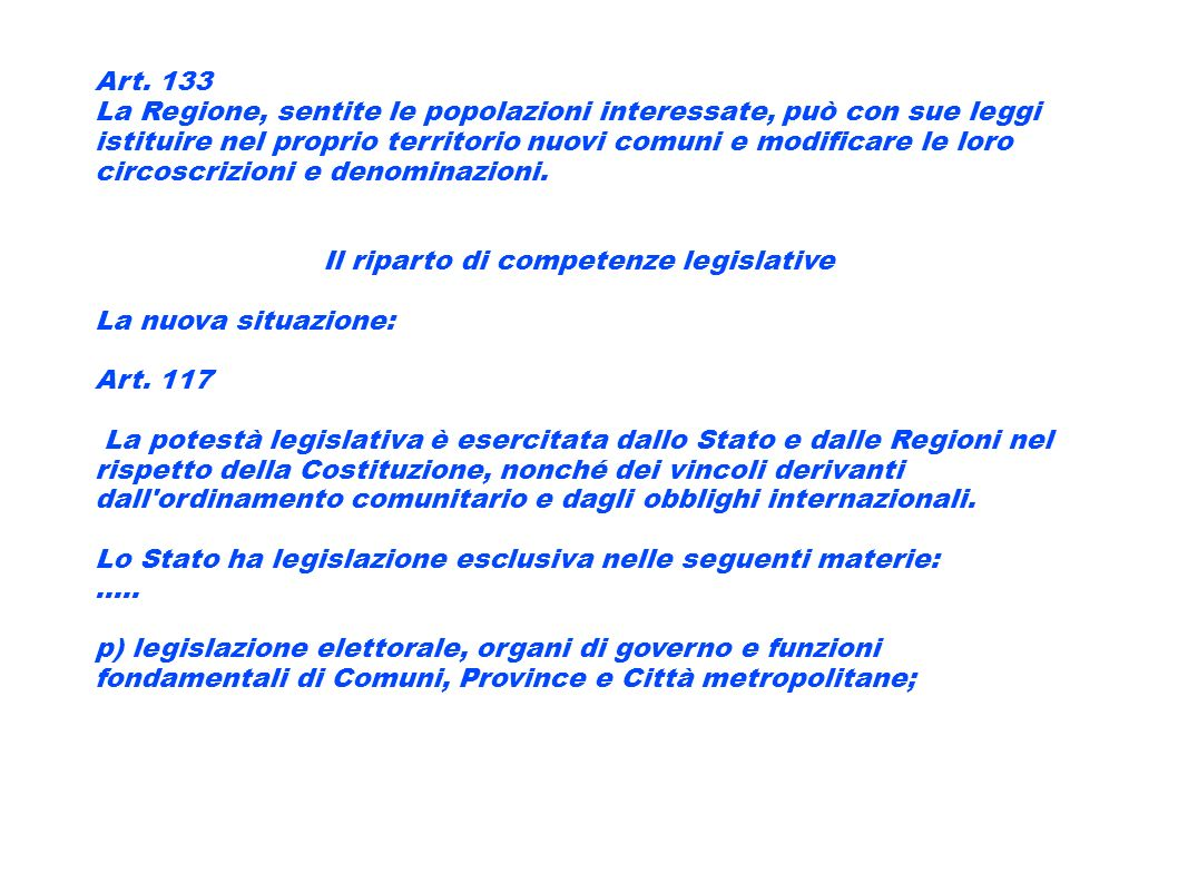 Il riparto di competenze legislative