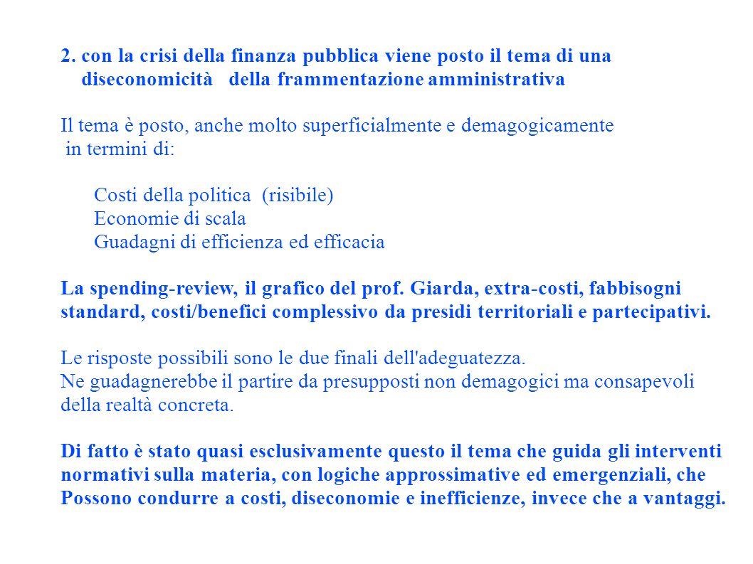 2. con la crisi della finanza pubblica viene posto il tema di una