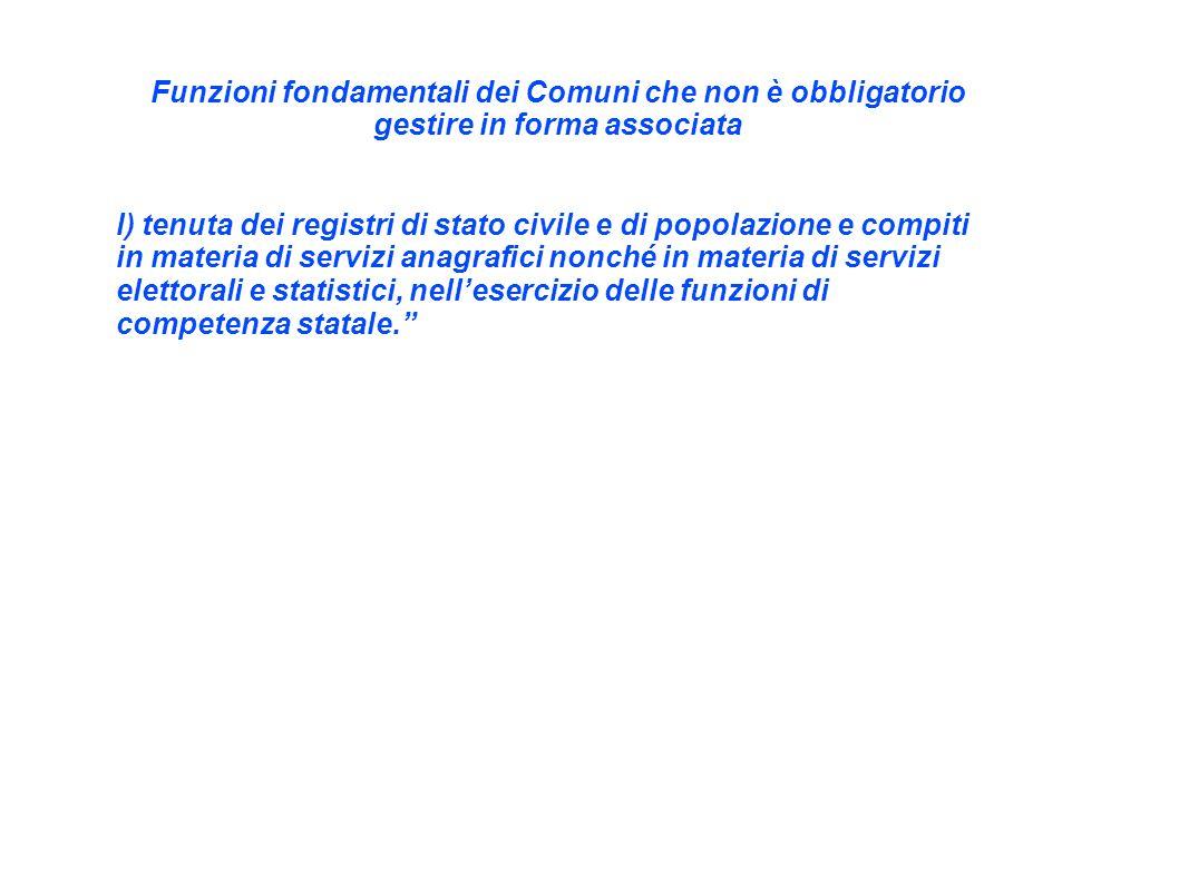 Funzioni fondamentali dei Comuni che non è obbligatorio gestire in forma associata