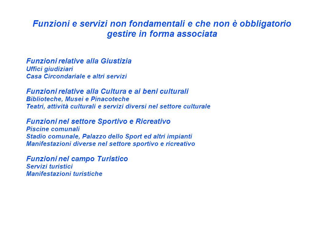 Funzioni e servizi non fondamentali e che non è obbligatorio gestire in forma associata