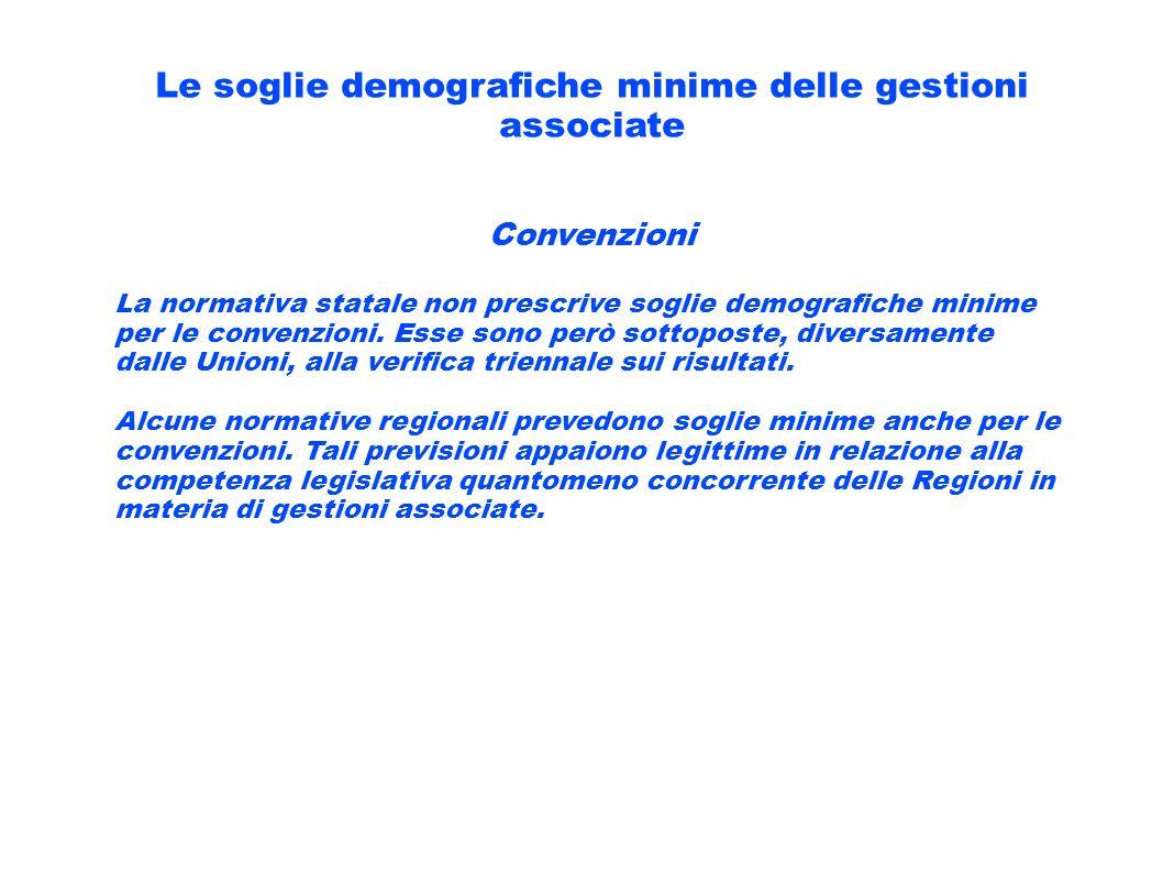 Le soglie demografiche minime delle gestioni associate