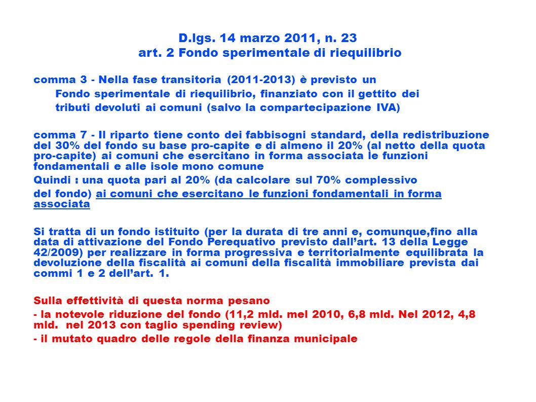 art. 2 Fondo sperimentale di riequilibrio