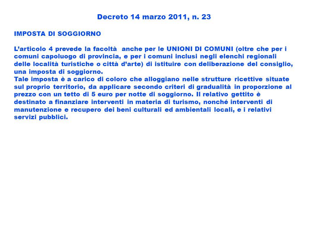 Decreto 14 marzo 2011, n. 23 IMPOSTA DI SOGGIORNO