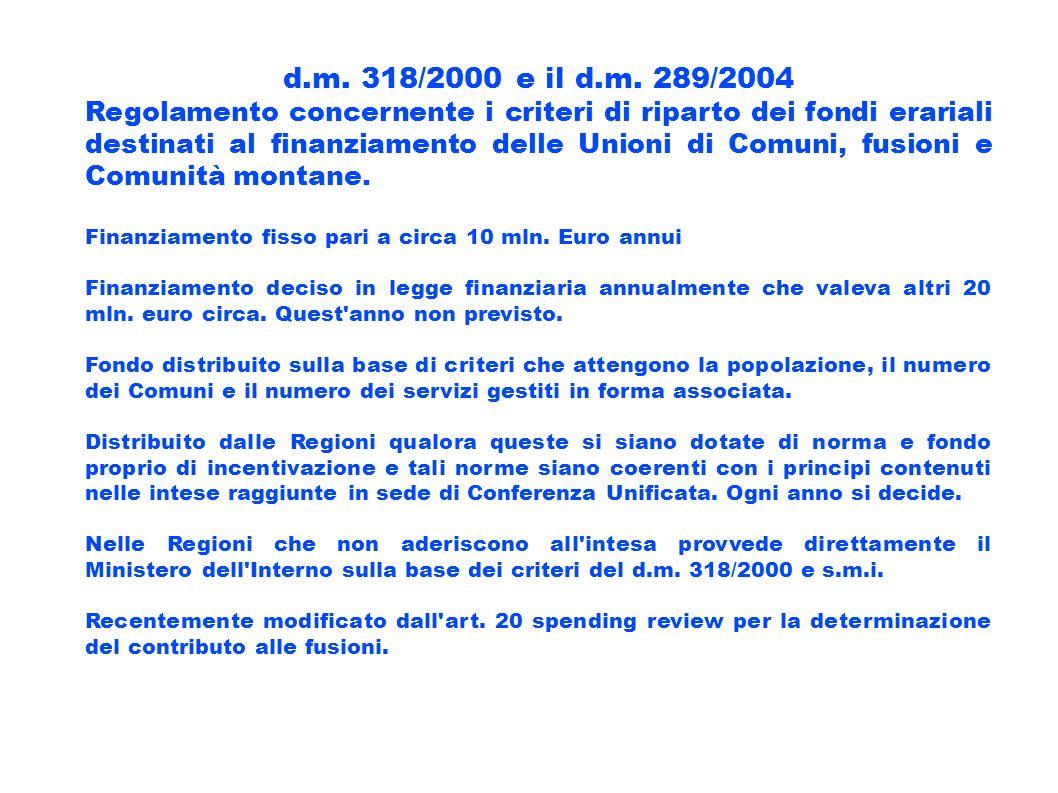 d.m. 318/2000 e il d.m. 289/2004