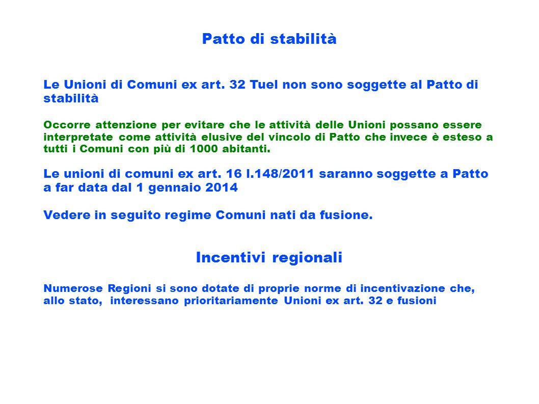 Patto di stabilità Incentivi regionali