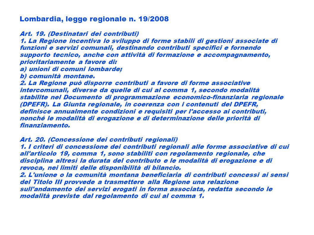 Lombardia, legge regionale n. 19/2008