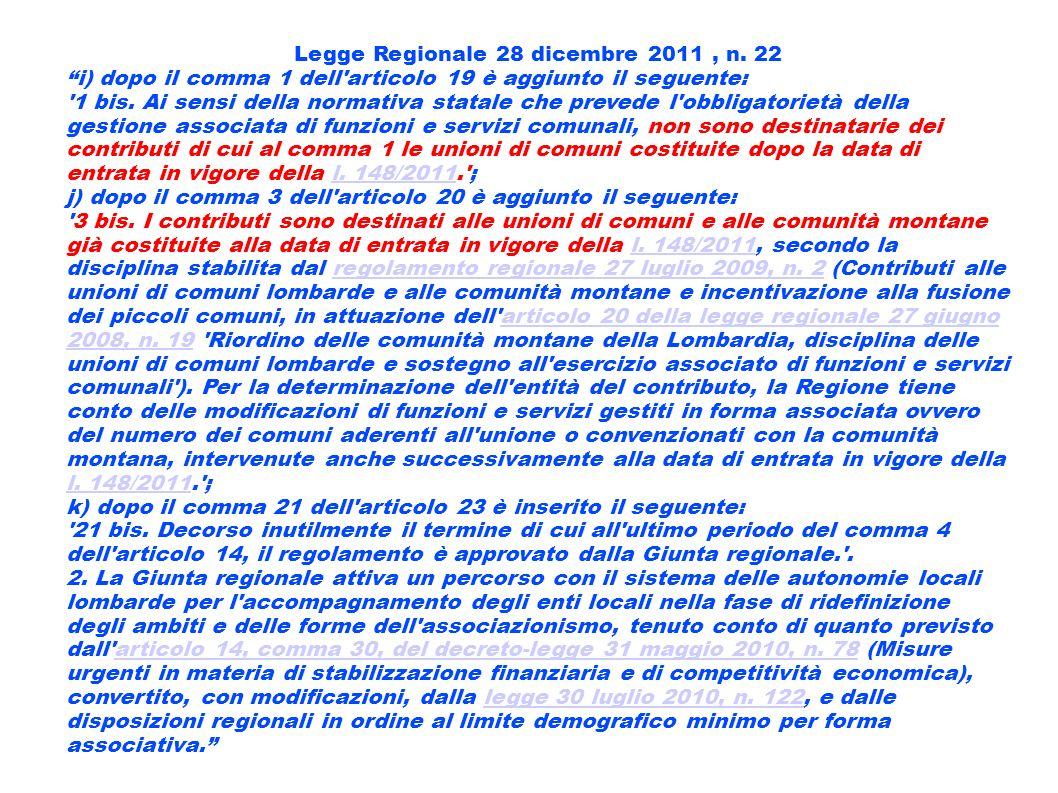 Legge Regionale 28 dicembre 2011 , n. 22