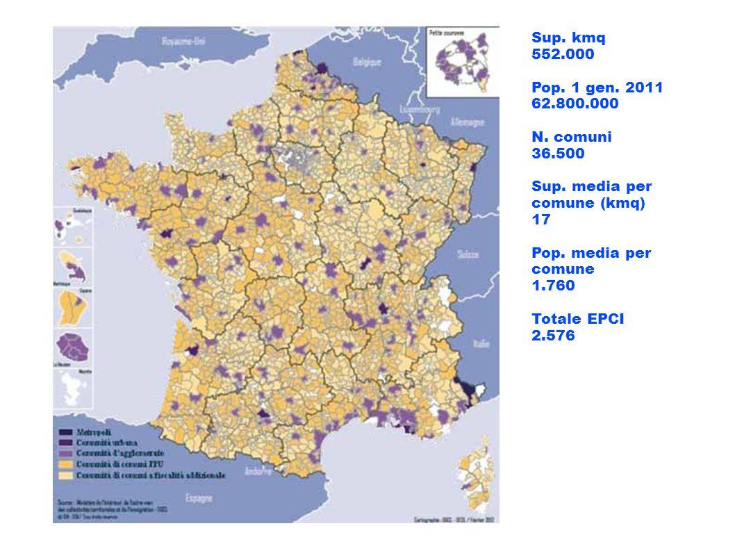 Sup. kmq 552.000. Pop. 1 gen. 2011. 62.800.000. N. comuni. 36.500. Sup. media per comune (kmq)