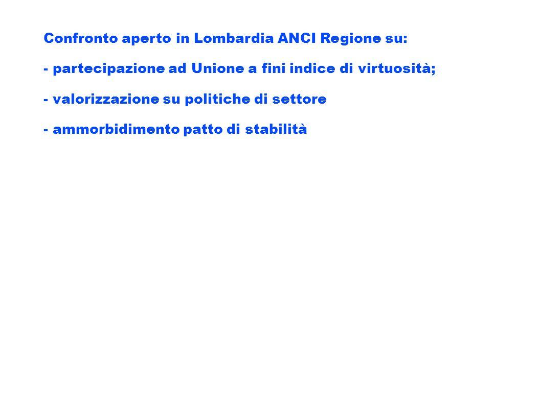 Confronto aperto in Lombardia ANCI Regione su: