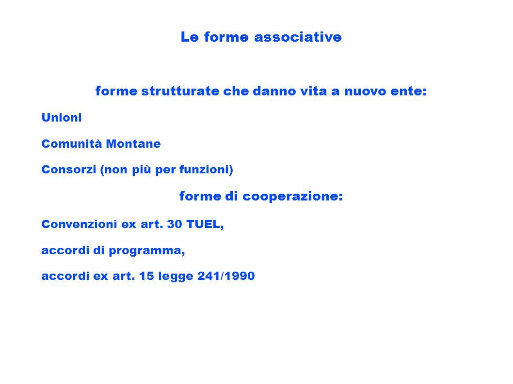 forme strutturate che danno vita a nuovo ente: forme di cooperazione: