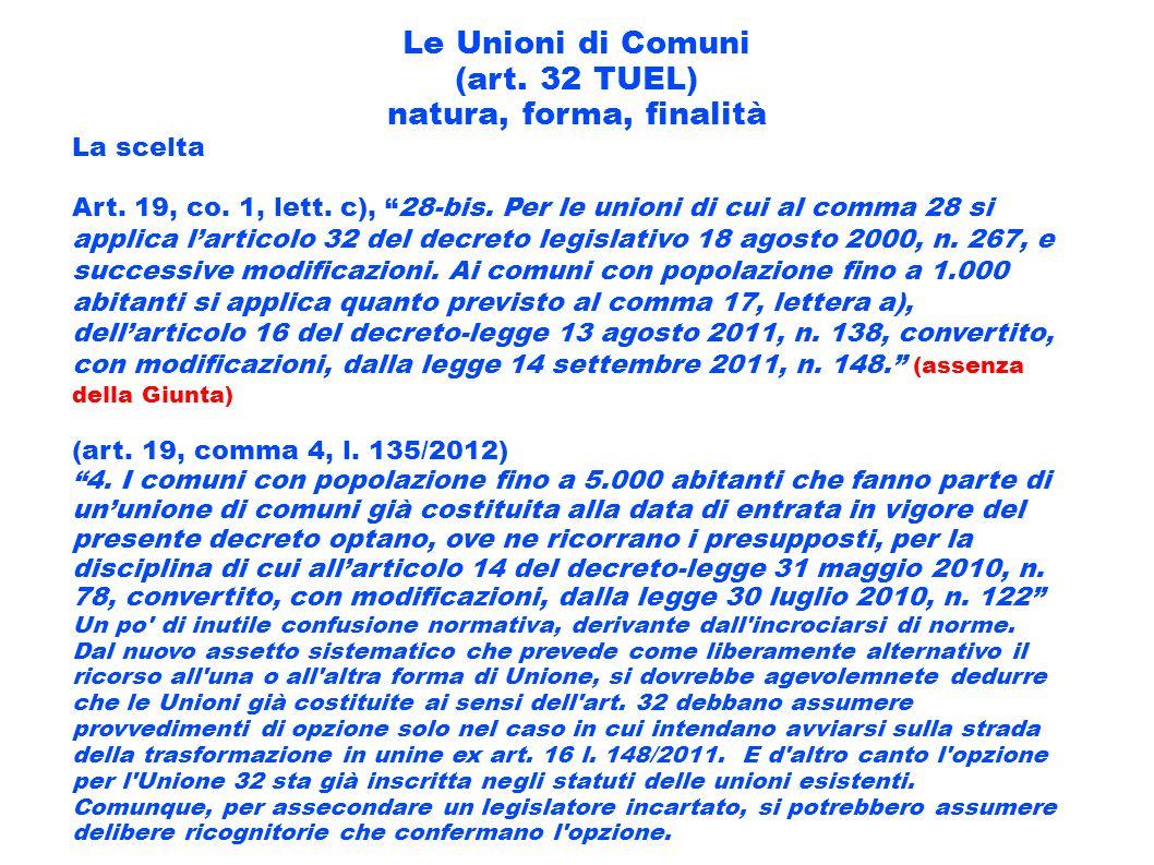 Le Unioni di Comuni (art. 32 TUEL) natura, forma, finalità