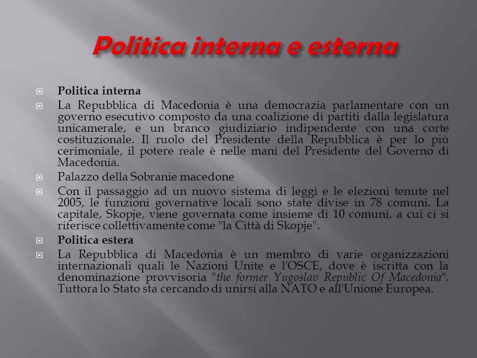 Politica interna e esterna
