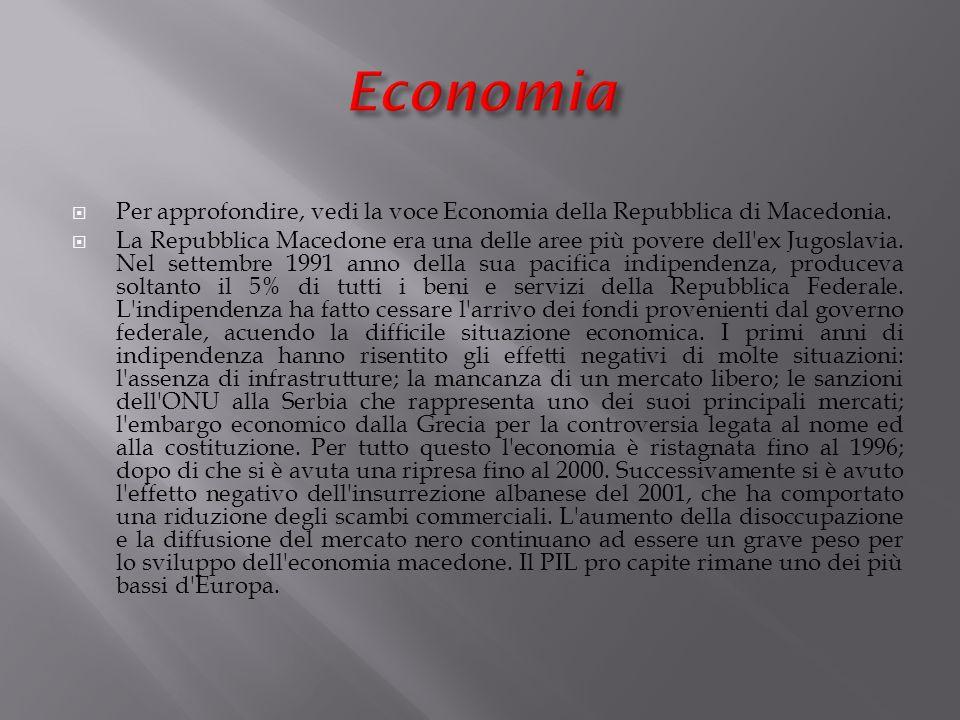 Economia Per approfondire, vedi la voce Economia della Repubblica di Macedonia.