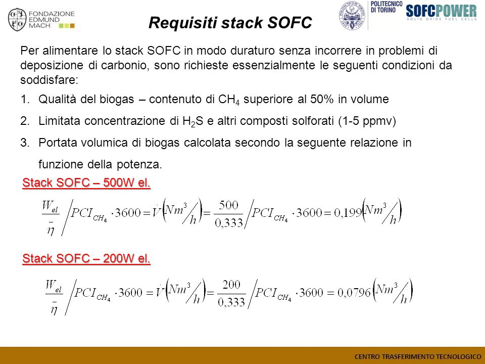 Requisiti stack SOFC