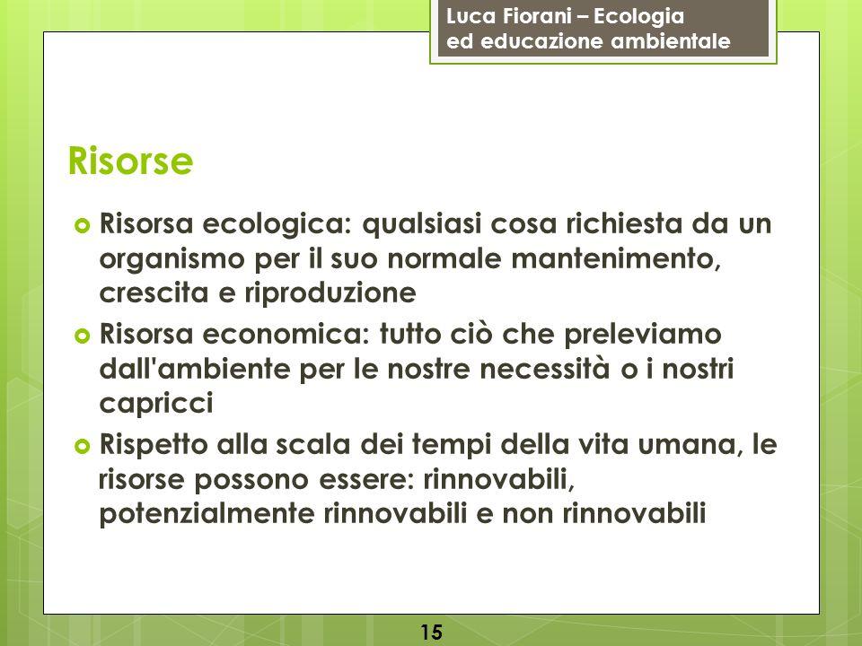 Risorse Risorsa ecologica: qualsiasi cosa richiesta da un organismo per il suo normale mantenimento, crescita e riproduzione.