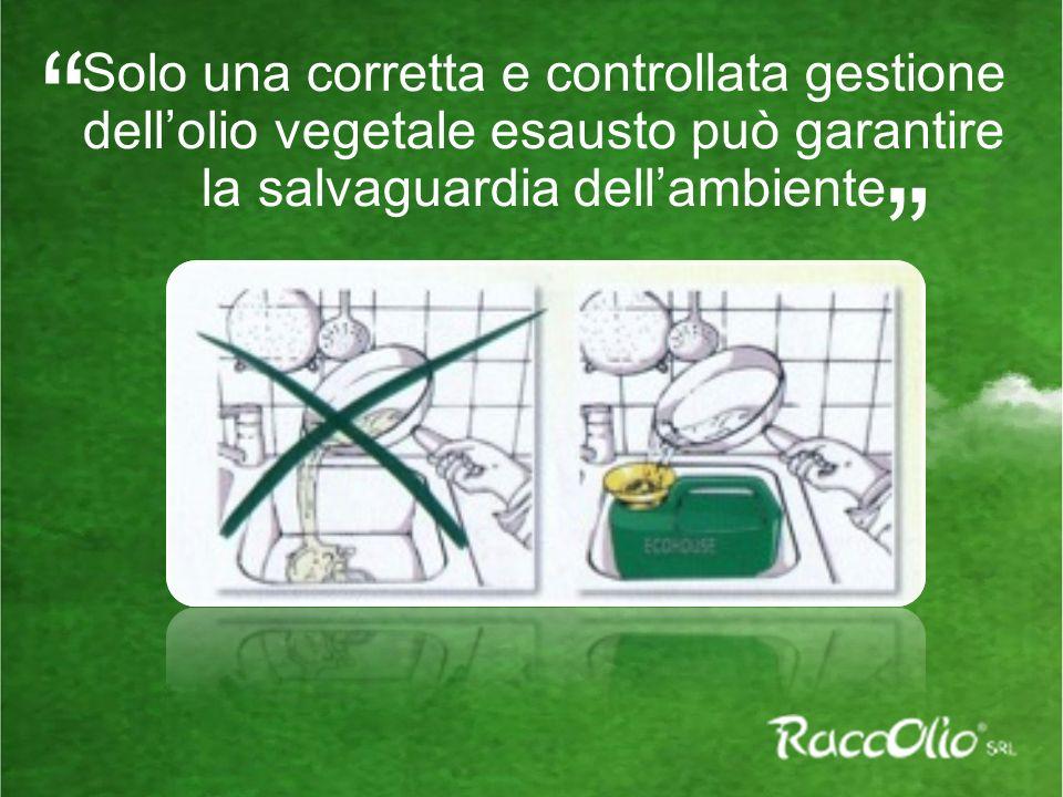 Solo una corretta e controllata gestione dell'olio vegetale esausto può garantire la salvaguardia dell'ambiente.