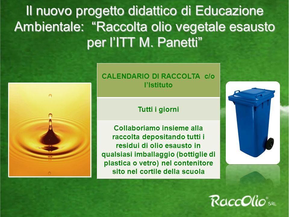 CALENDARIO DI RACCOLTA c/o l'Istituto