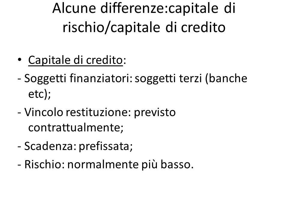 Alcune differenze:capitale di rischio/capitale di credito