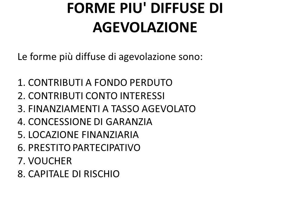 FORME PIU DIFFUSE DI AGEVOLAZIONE