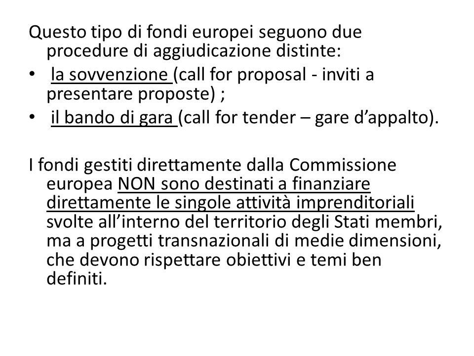 Questo tipo di fondi europei seguono due procedure di aggiudicazione distinte: