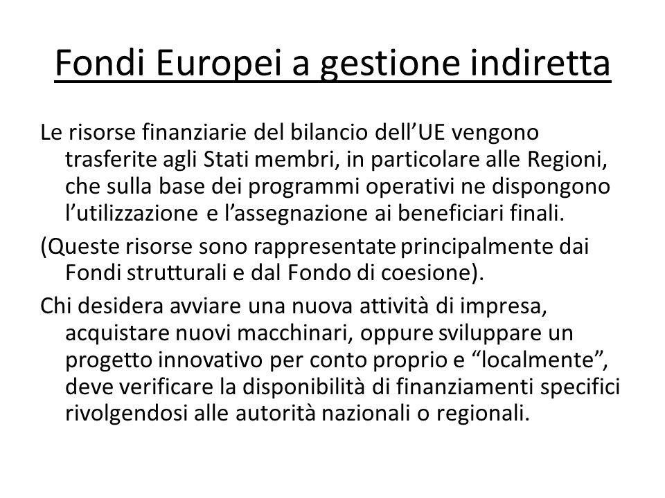 Fondi Europei a gestione indiretta