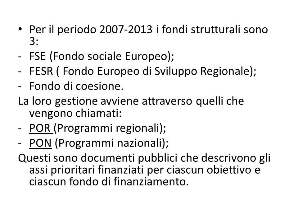 Per il periodo 2007-2013 i fondi strutturali sono 3: