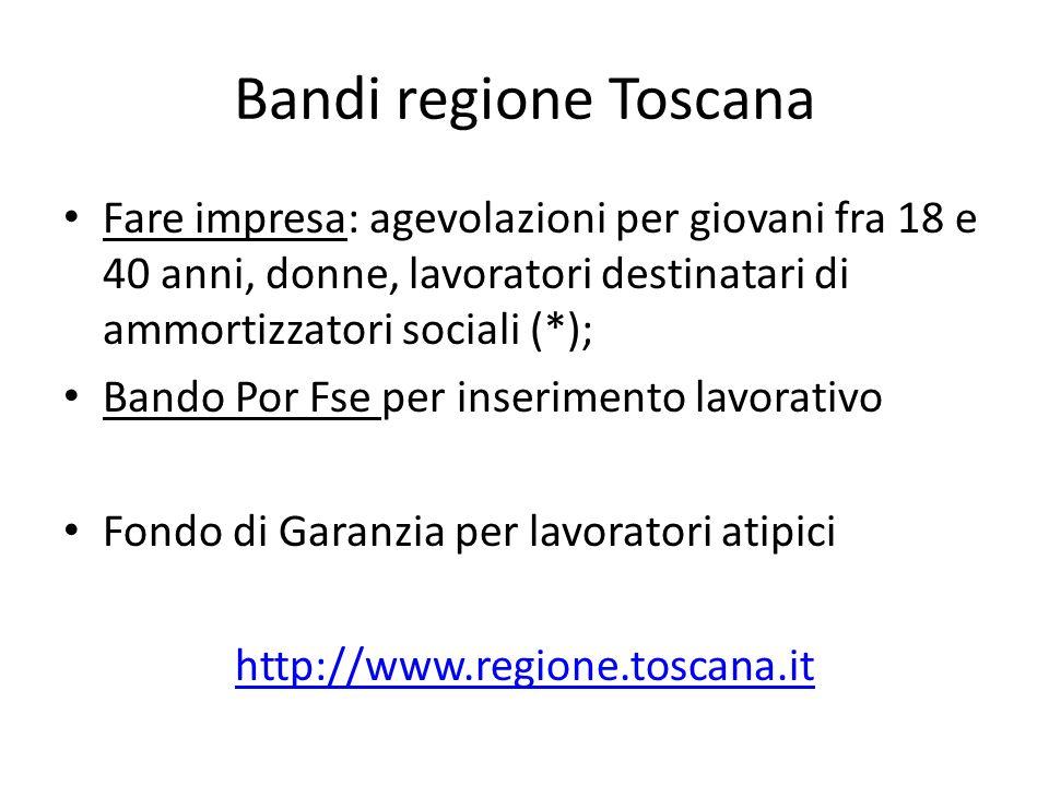 Bandi regione Toscana Fare impresa: agevolazioni per giovani fra 18 e 40 anni, donne, lavoratori destinatari di ammortizzatori sociali (*);