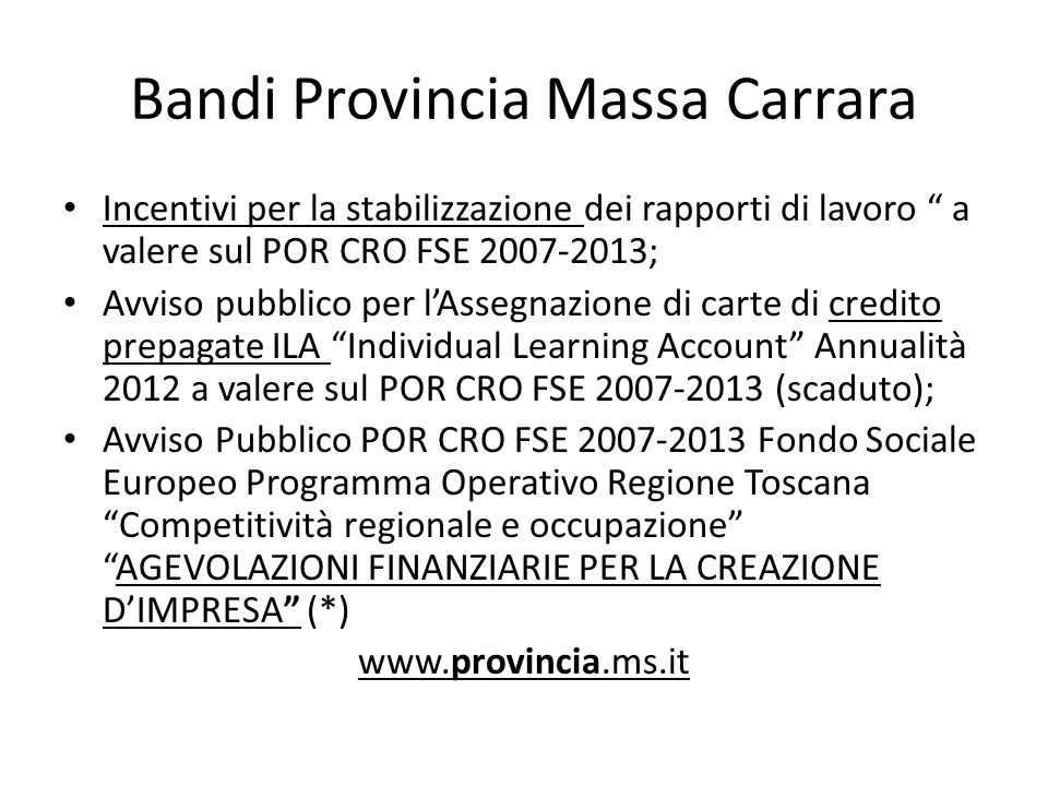 Bandi Provincia Massa Carrara