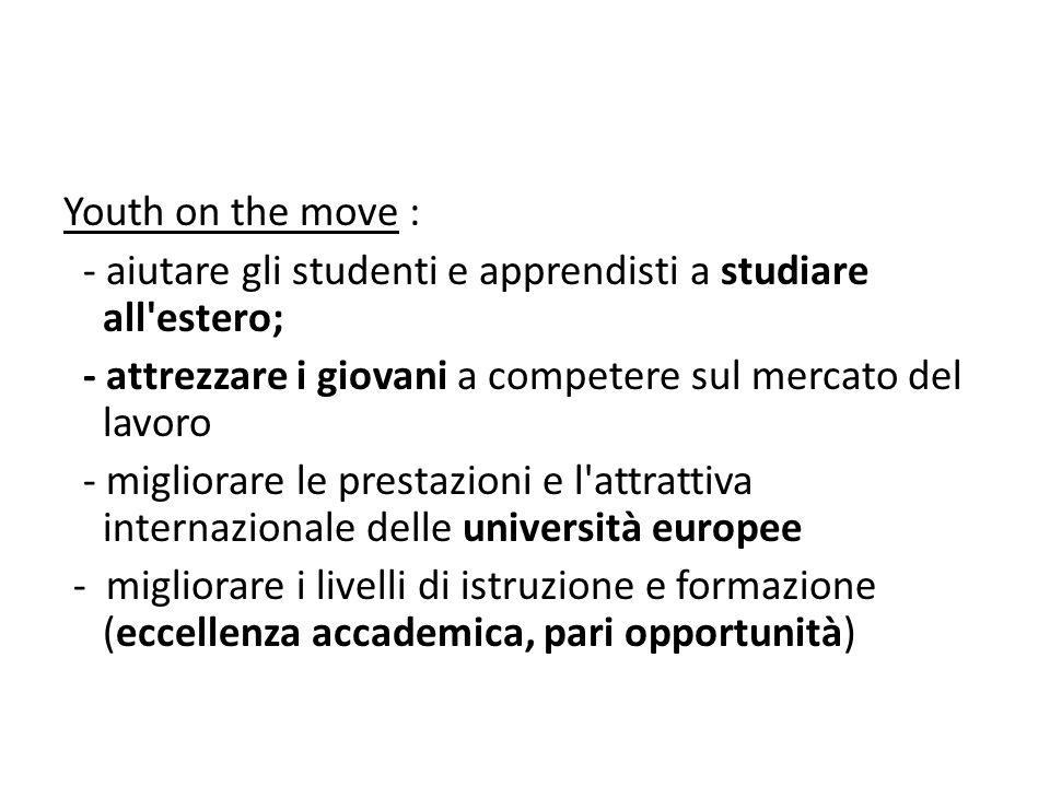 Youth on the move : - aiutare gli studenti e apprendisti a studiare all estero; - attrezzare i giovani a competere sul mercato del lavoro.