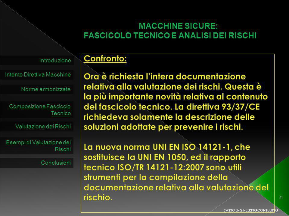MACCHINE SICURE: FASCICOLO TECNICO E ANALISI DEI RISCHI. Confronto: