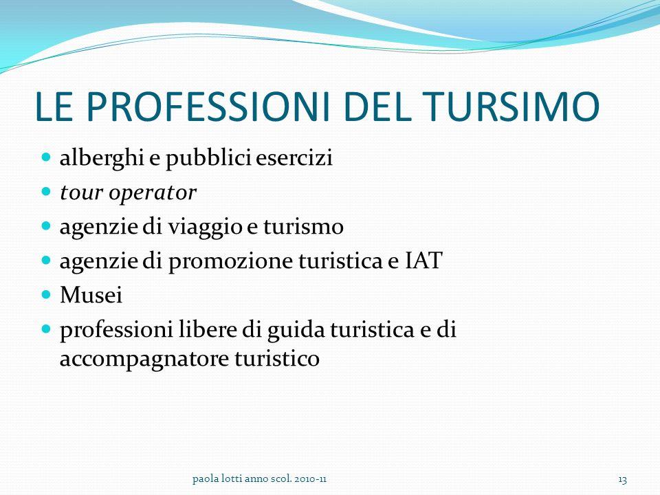 LE PROFESSIONI DEL TURSIMO