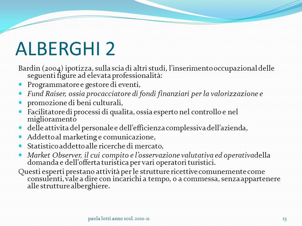 ALBERGHI 2 Bardin (2004) ipotizza, sulla scia di altri studi, l'inserimento occupazional delle seguenti figure ad elevata professionalità: