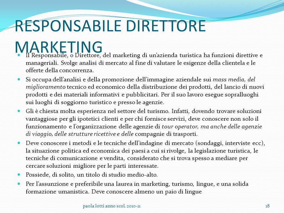 RESPONSABILE DIRETTORE MARKETING